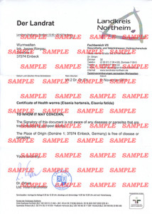 Sample Health Certificate for earthworms