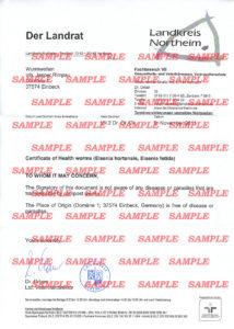 Gesundheitszeugnis für Regenwürmer (Lumbricus) Muster