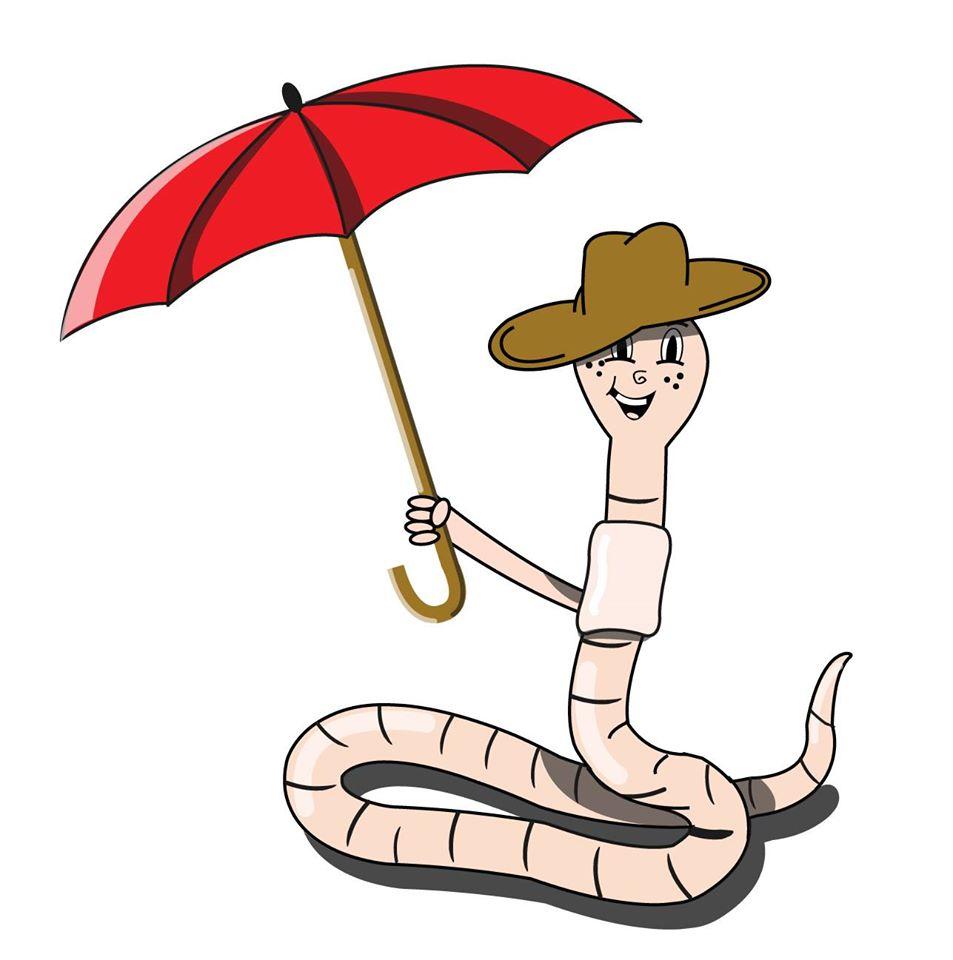 Regenwurm mit Regenschirm im Regen