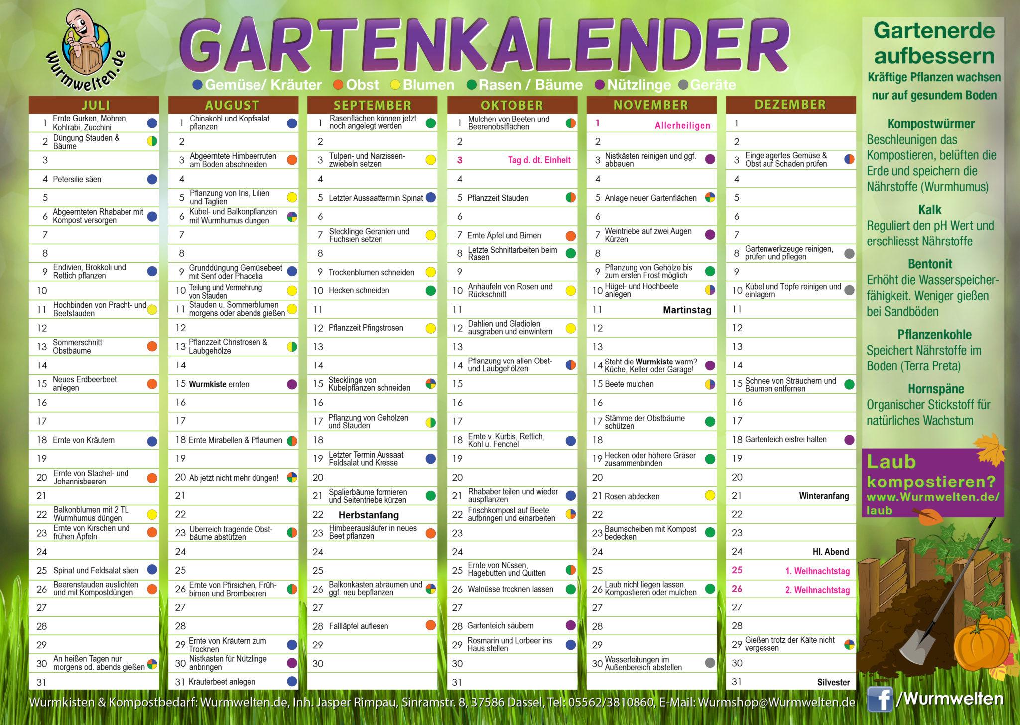 Gartenkalender Mit Kompost Tipps Als Download Wurmweltende